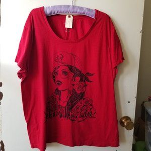 Red Short Sleeve Scoop Neck T-Shirt with Graphics